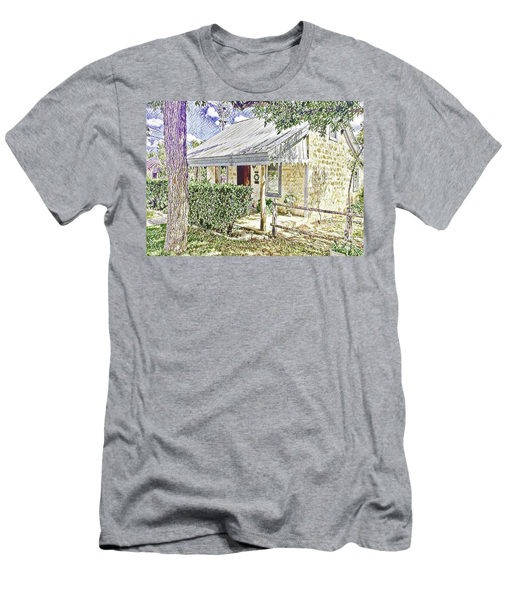 Historic Home Men's T-Shirt (Athletic Fit) featuring the digital art Limestone Cottage by Wendy Biro-Pollard
