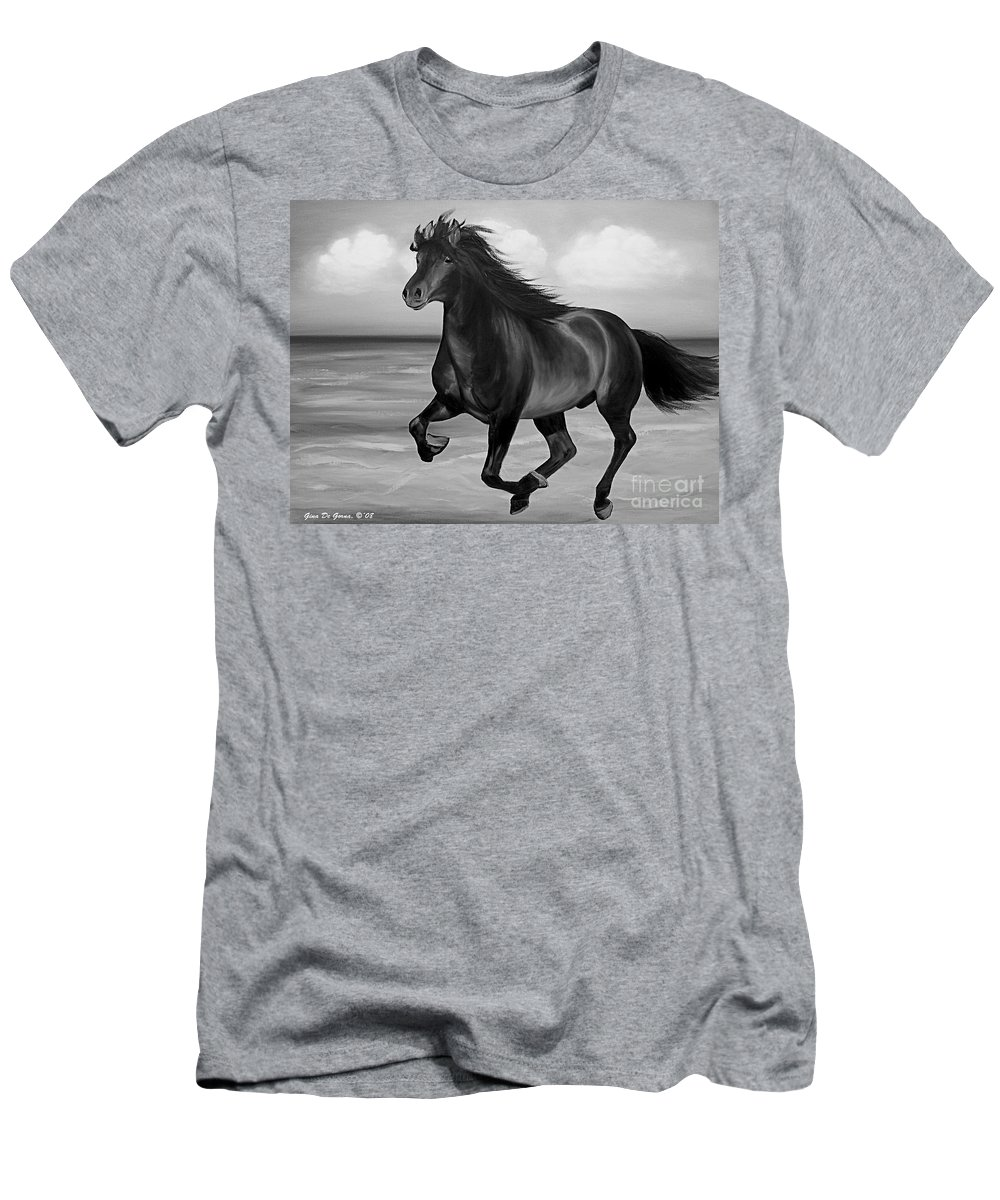 Horses Men's T-Shirt (Athletic Fit) featuring the painting Horses In Paradise Run by Gina De Gorna