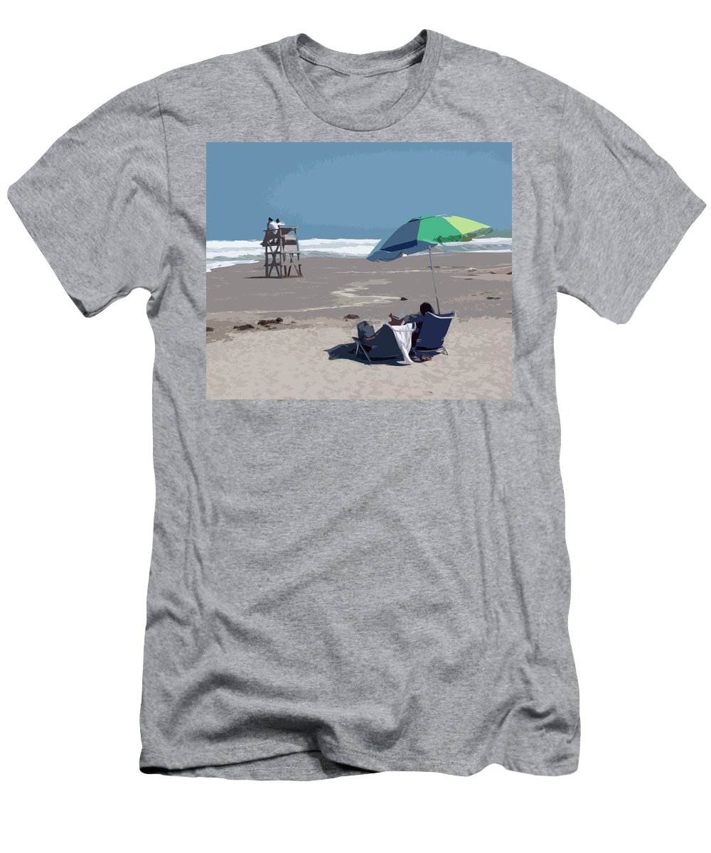 Lifeguard Men's T-Shirt (Athletic Fit) featuring the painting Hurricane Surf In Florida by Allan Hughes