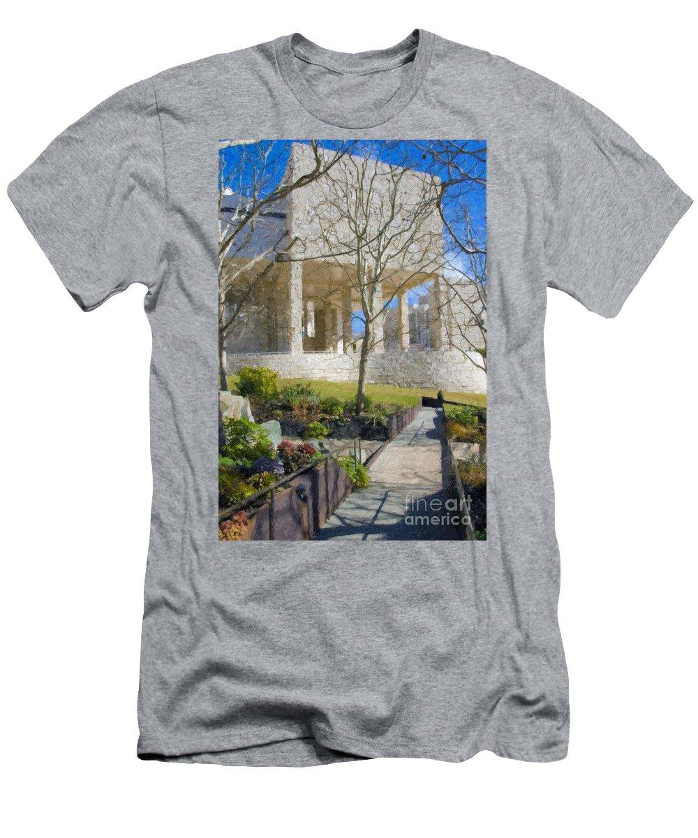 The Men's T-Shirt (Athletic Fit) featuring the photograph J Paul Getty Museum Garden Terrace by David Zanzinger