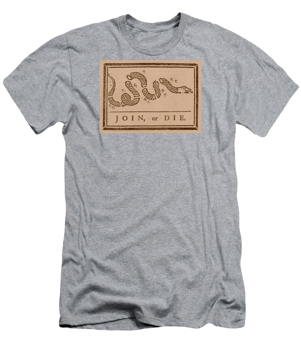 Join Or Die Men's T-Shirt (Athletic Fit) featuring the mixed media Join Or Die by War Is Hell Store