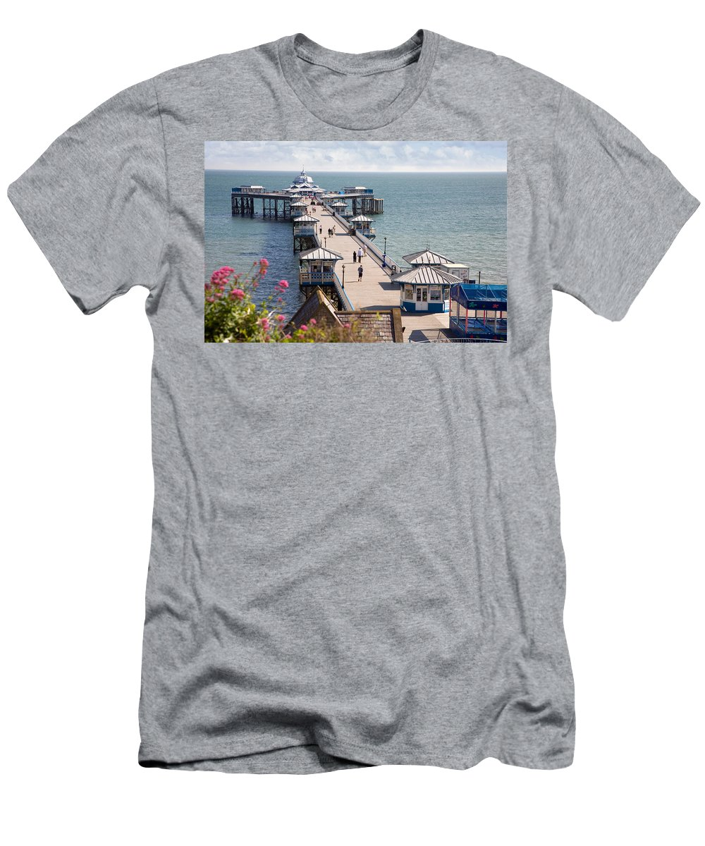 Llandudno Men's T-Shirt (Athletic Fit) featuring the photograph Llandudno Pier North Wales Uk by Mal Bray
