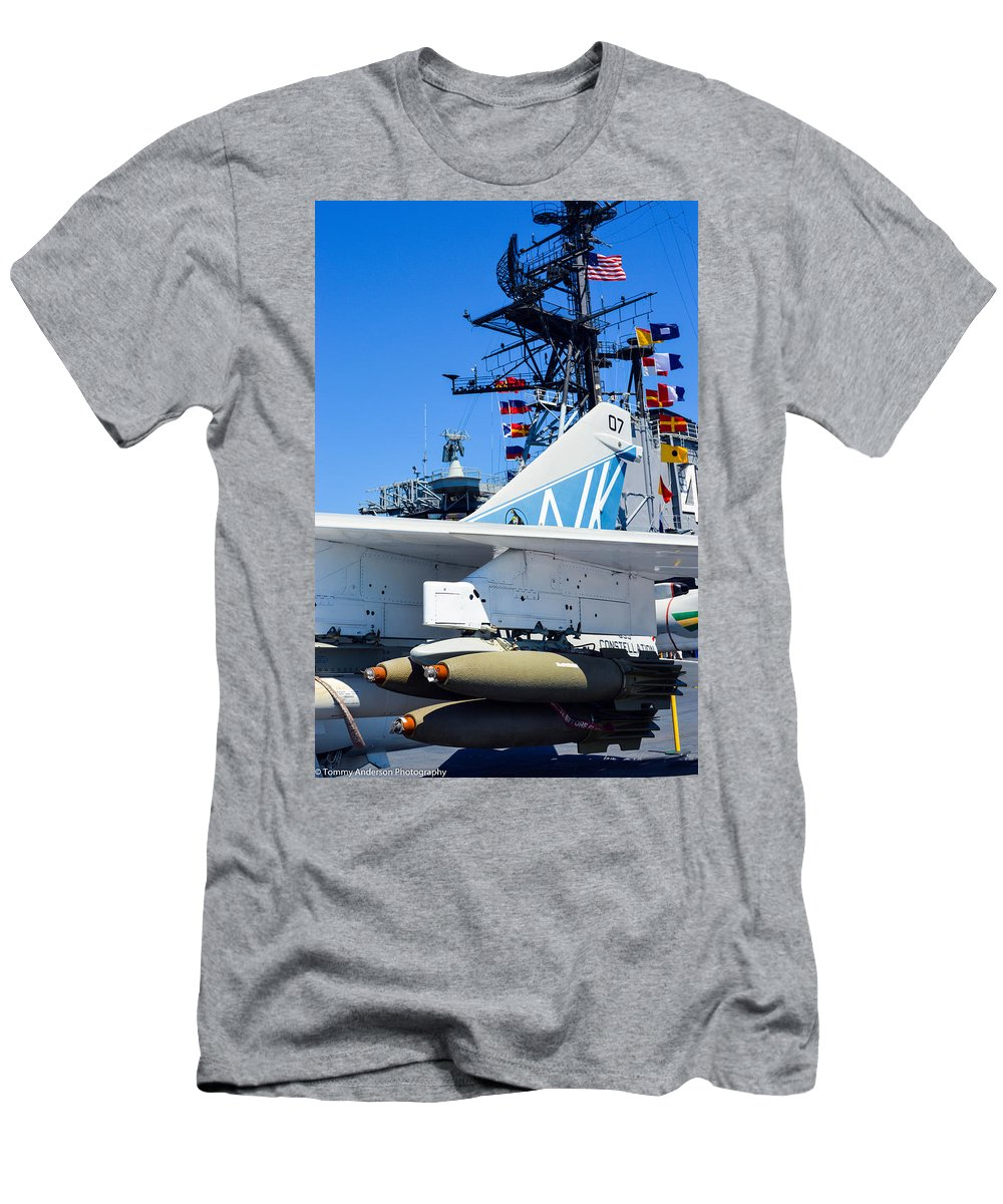 2014 Men's T-Shirt (Athletic Fit) featuring the photograph Ltv A-7 Corsair II by Tommy Anderson
