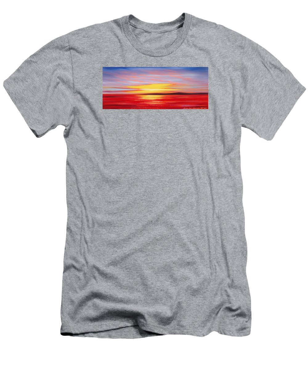 Sunset Men's T-Shirt (Athletic Fit) featuring the painting Magic At Sunset by Gina De Gorna