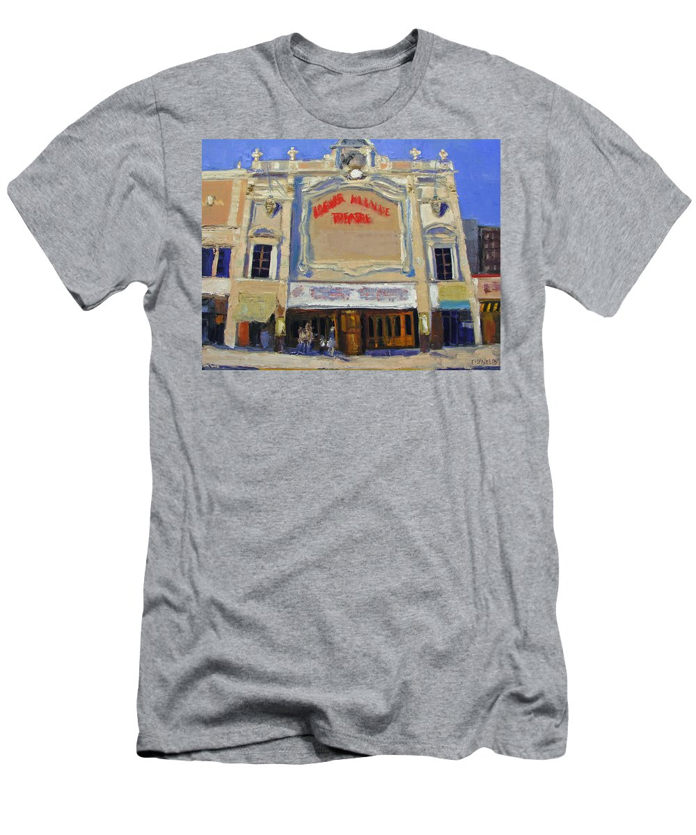 Movies Men's T-Shirt (Athletic Fit) featuring the painting Memories Loews Paradise Bronx by Gail Eisenfeld