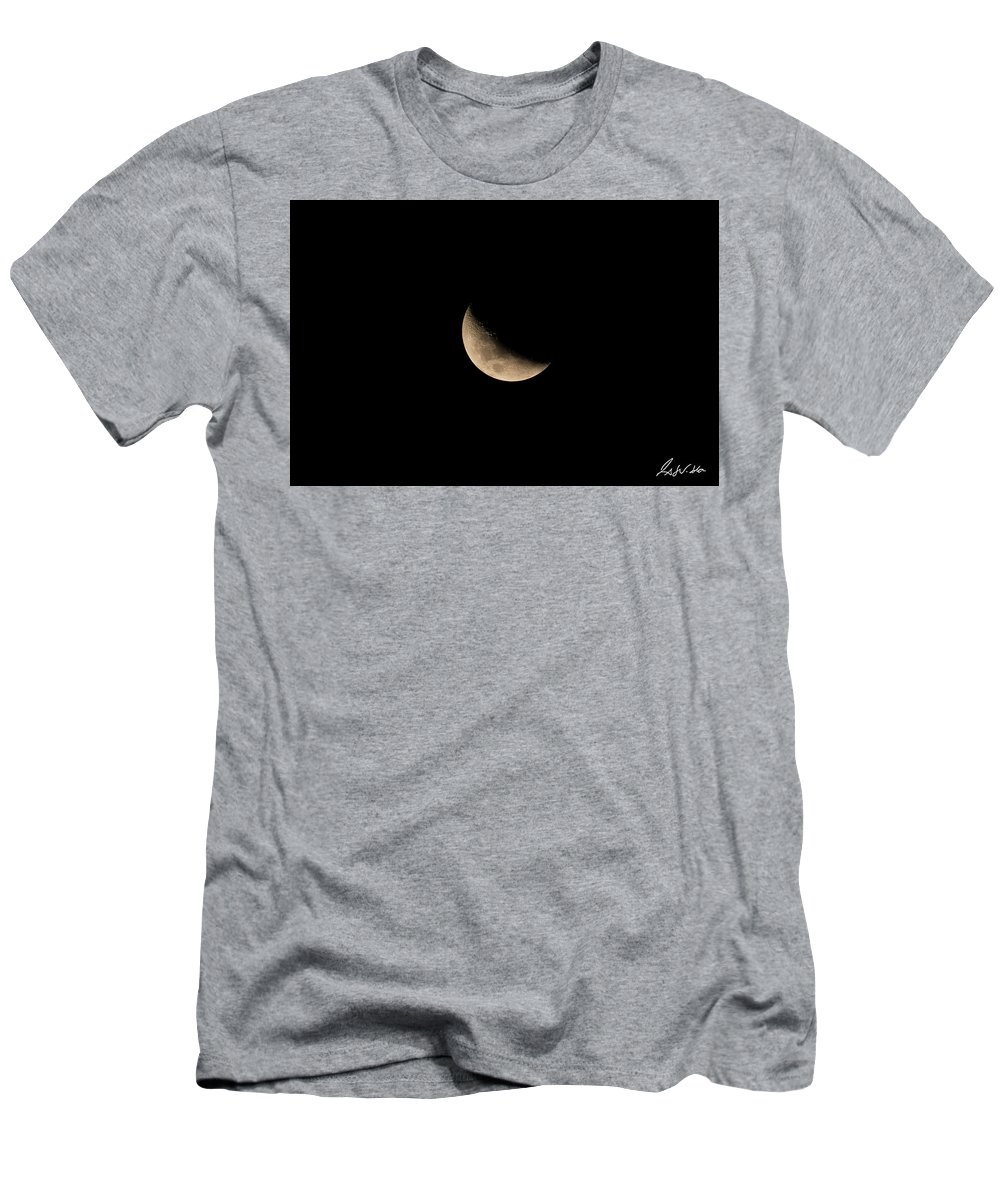 Closeup Men's T-Shirt (Athletic Fit) featuring the photograph Moon by Fabio Seda