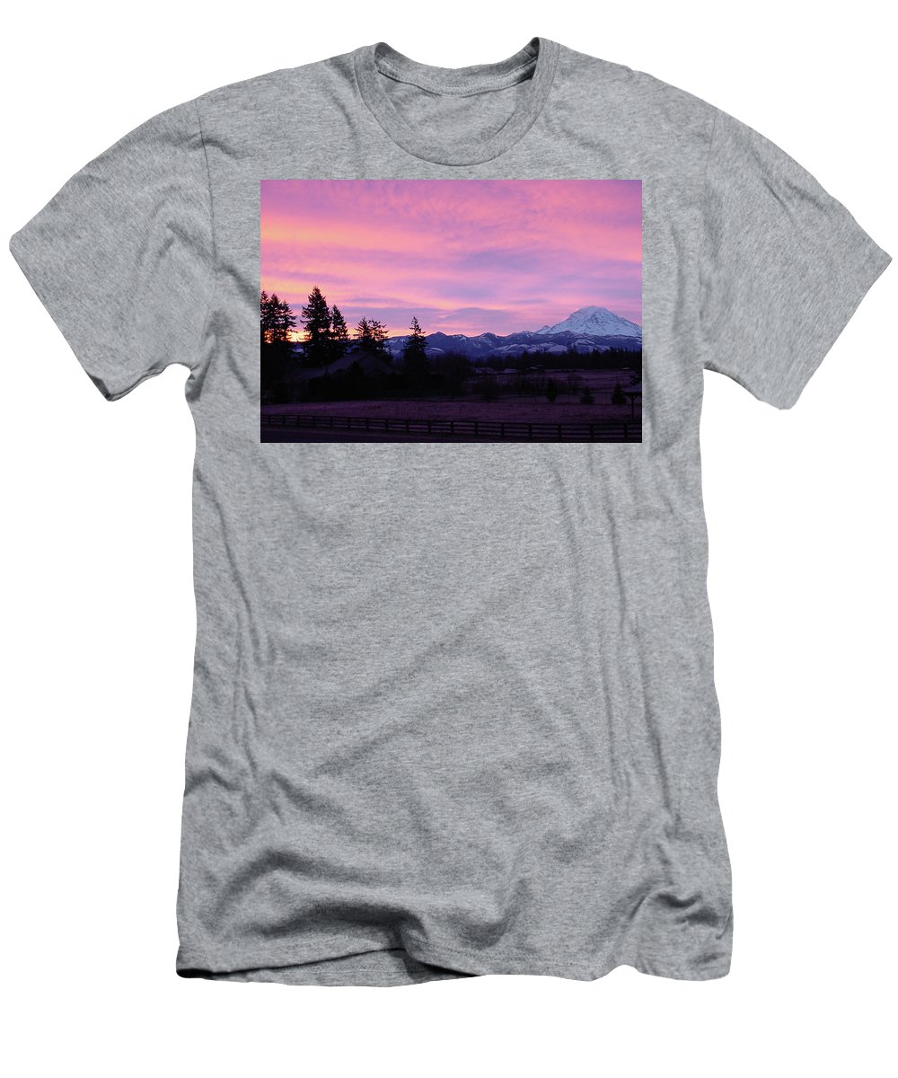 Sunrise Men's T-Shirt (Athletic Fit) featuring the photograph Mt Rainier Frosty Sunrise by Shirley Heyn
