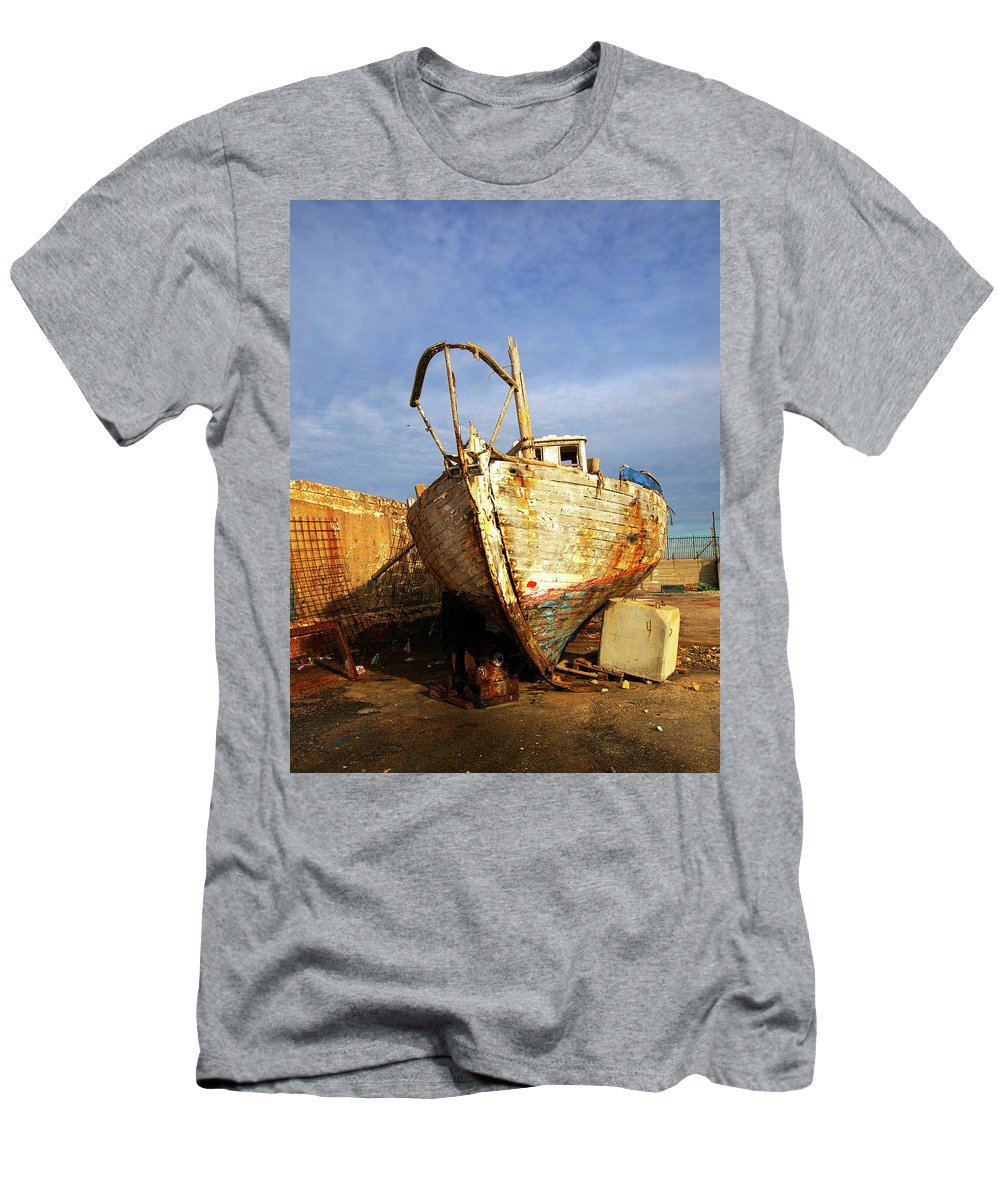Old T-Shirt featuring the photograph Old Dilapidated Wooden Boat by Ofer Zilberstein