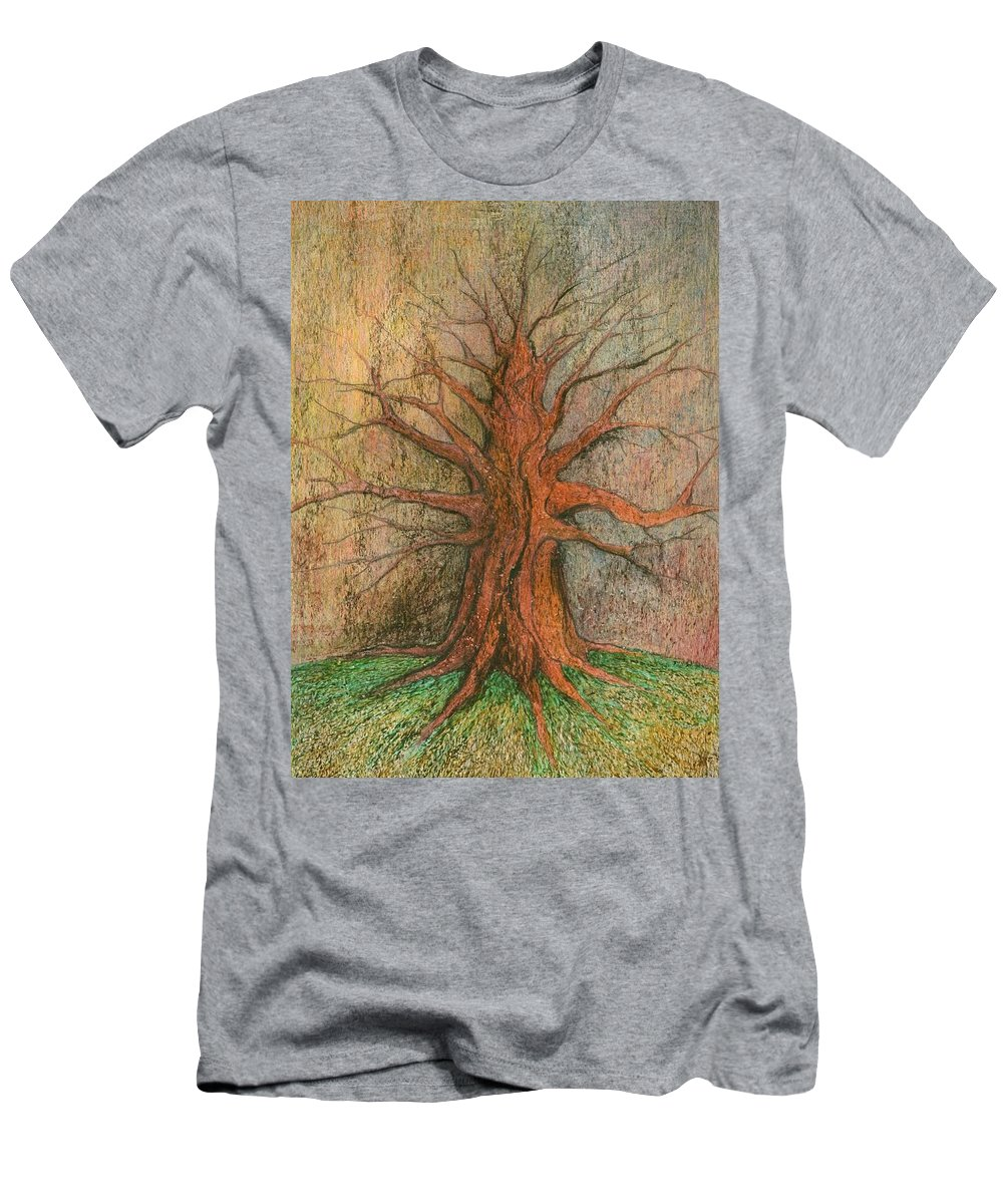 Colour Men's T-Shirt (Athletic Fit) featuring the painting Old Tree by Wojtek Kowalski