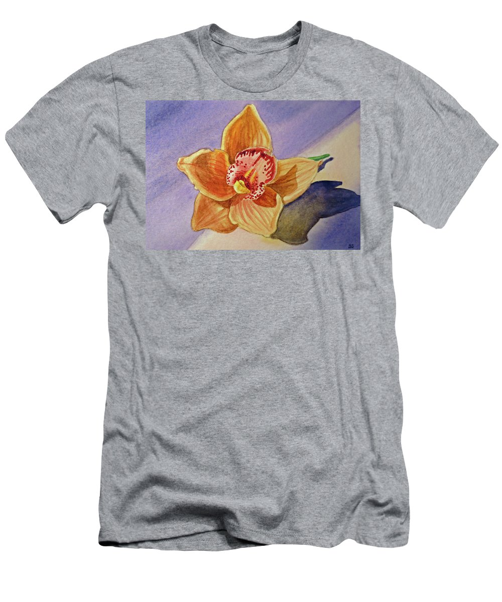 Thank You Men's T-Shirt (Athletic Fit) featuring the painting Orchid by Irina Sztukowski