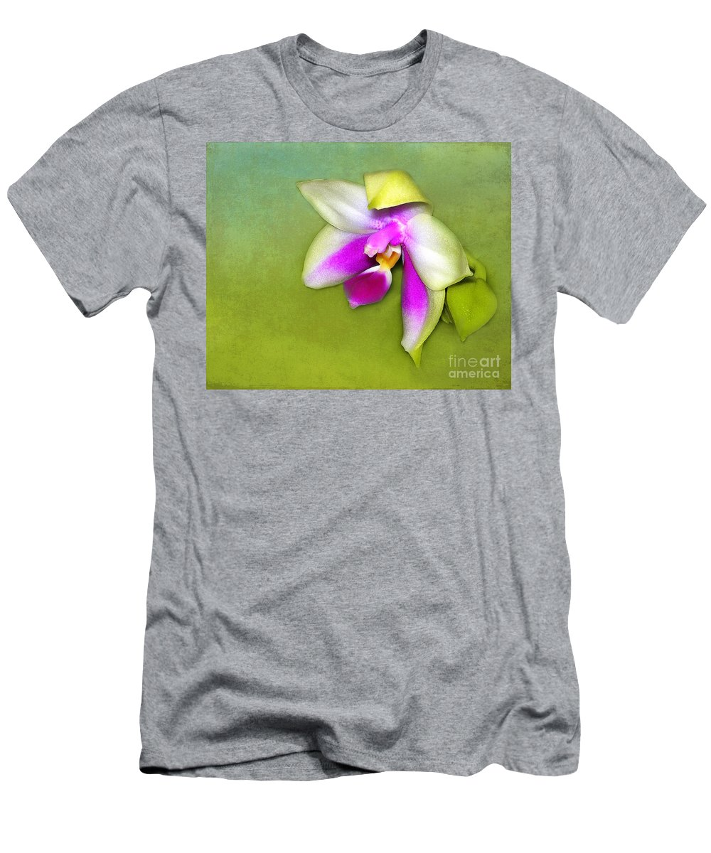Orchid Men's T-Shirt (Athletic Fit) featuring the photograph Shy Orchid by Judi Bagwell