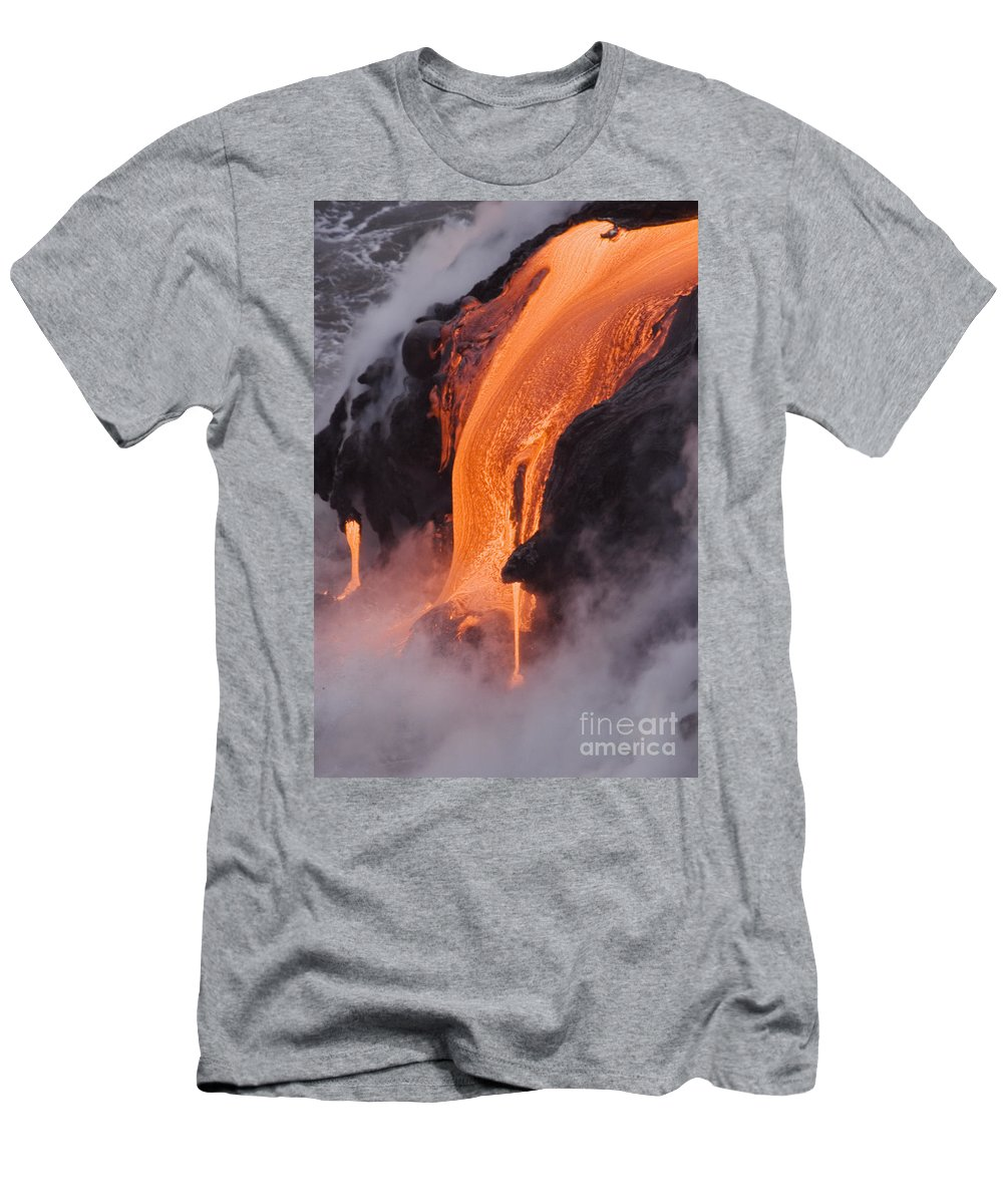 Active Men's T-Shirt (Athletic Fit) featuring the photograph Pahoehoe Lava Flow by Ron Dahlquist - Printscapes