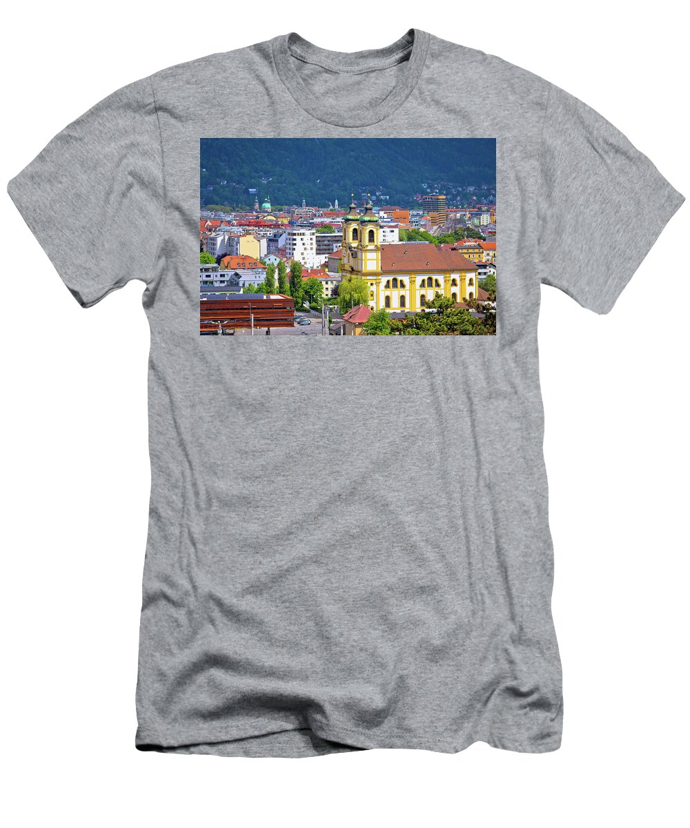 Innsbruck Men's T-Shirt (Athletic Fit) featuring the photograph Panoramic Aerial View Of Innsbruck And Hafelekarspitze Mountain by Brch Photography