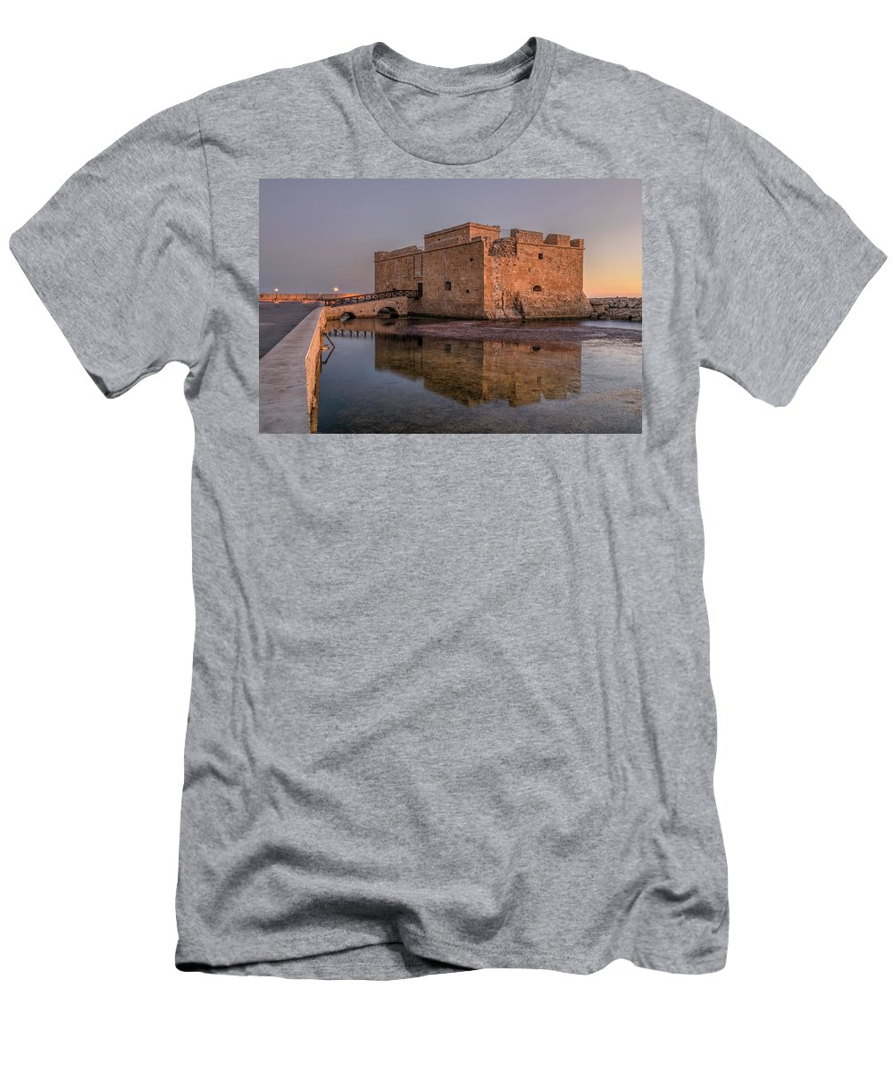 Paphos Castle Men's T-Shirt (Athletic Fit) featuring the photograph Paphos - Cyprus by Joana Kruse