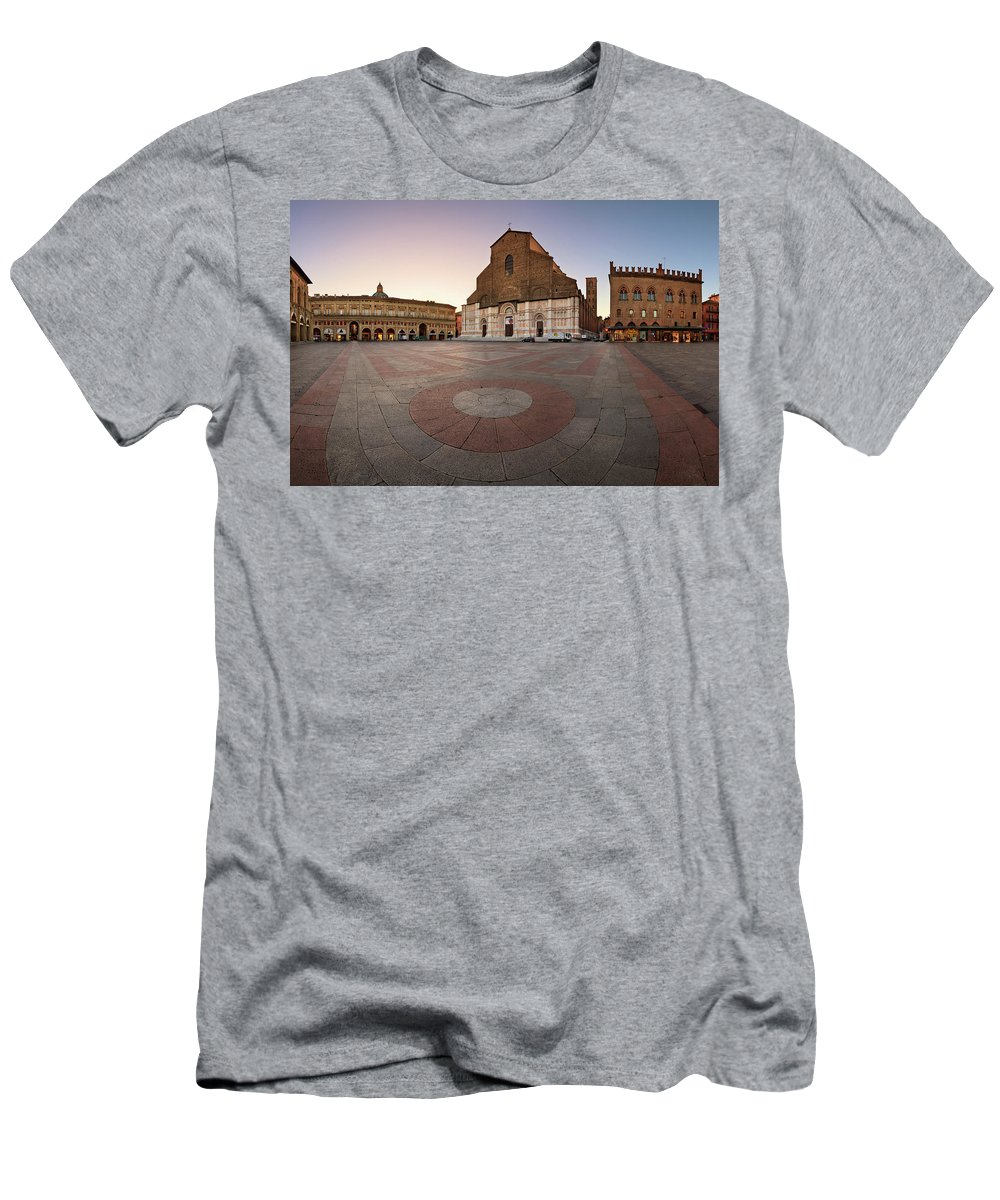 Accursio Men's T-Shirt (Athletic Fit) featuring the photograph Piazza Maggiore And San Petronio Basilica In The Morning, Bologna, Emilia-romanga, Italy by Andrey Omelyanchuk