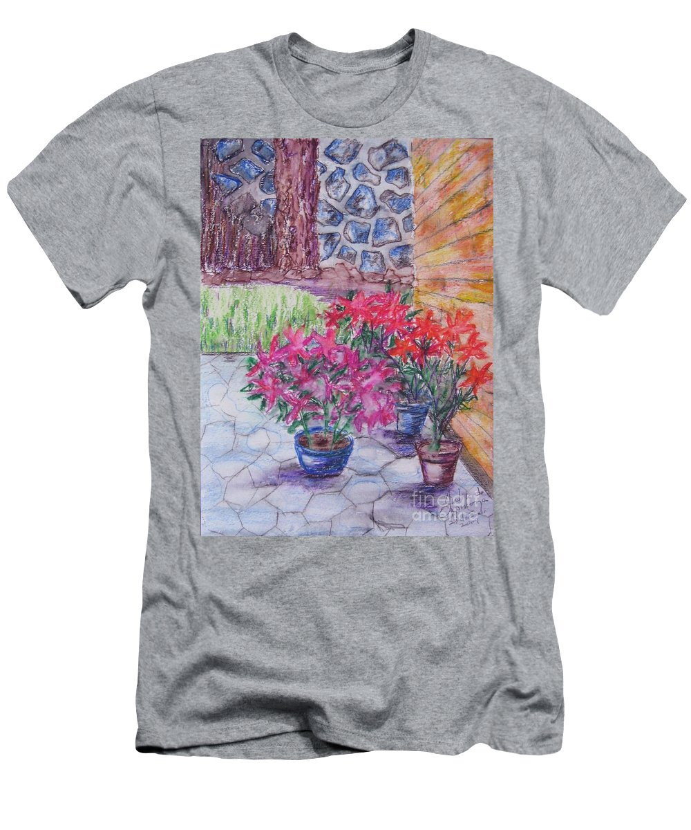 Poinsettias Men's T-Shirt (Athletic Fit) featuring the painting Poinsettias - Gifted by Judith Espinoza