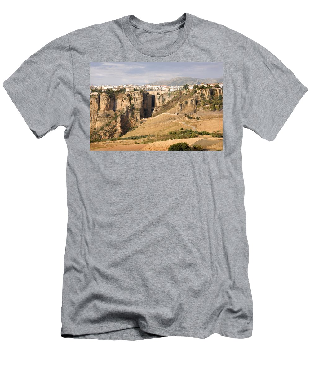 Ronda Men's T-Shirt (Athletic Fit) featuring the photograph Puente Nuevo Tajo De Ronda Andalucia Spain Europe by Mal Bray