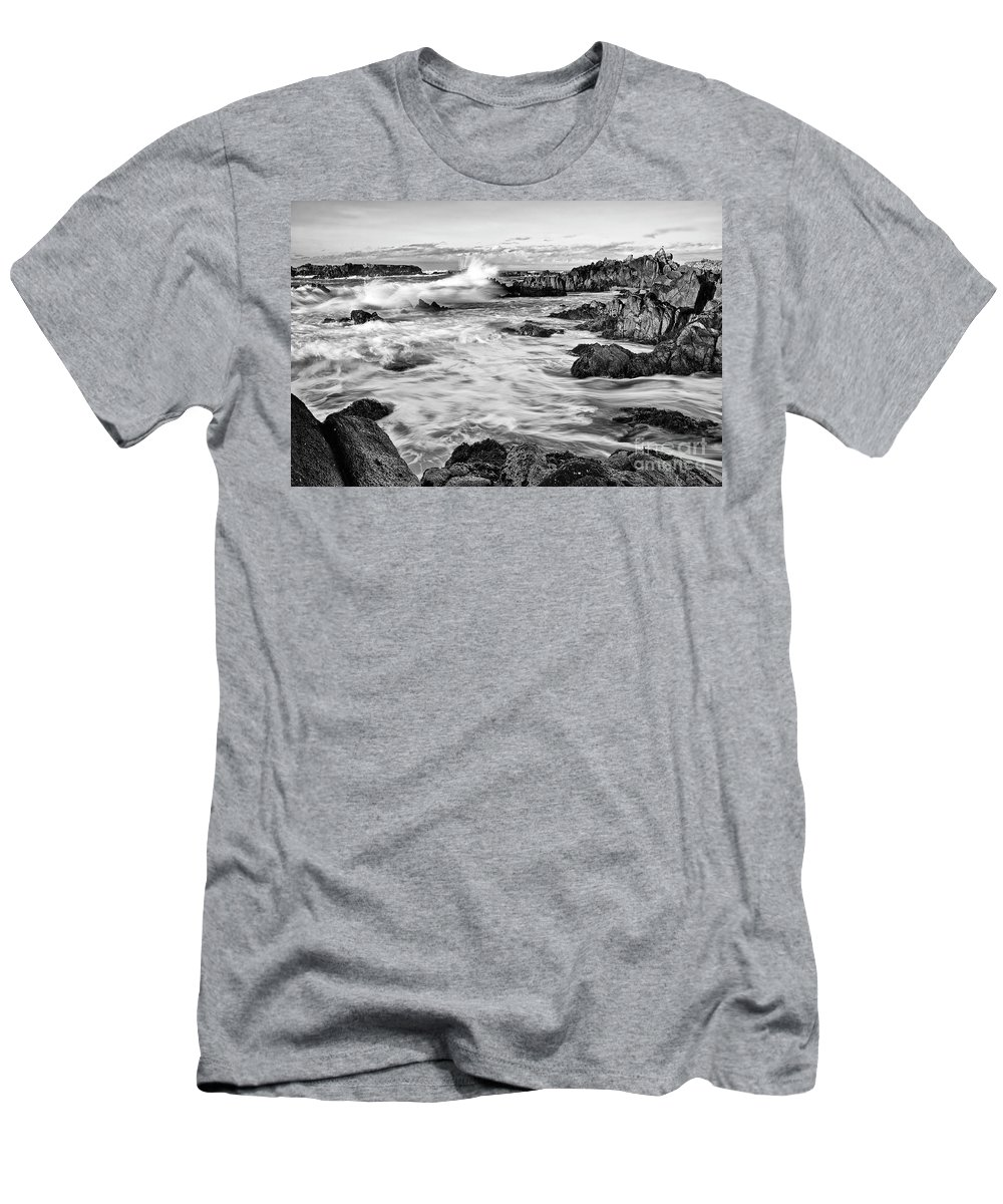 Waves Men's T-Shirt (Athletic Fit) featuring the photograph Rocky Asilomar Beach In Monterey Bay At Sunset. by Jamie Pham