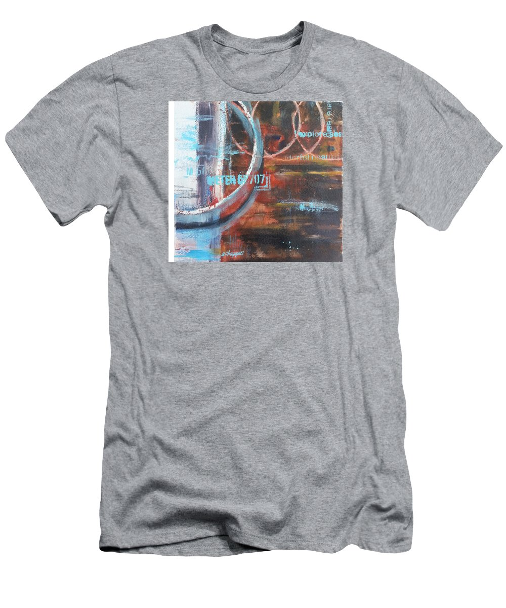 Abstract Men's T-Shirt (Athletic Fit) featuring the painting Round And Round by Becky Chappell