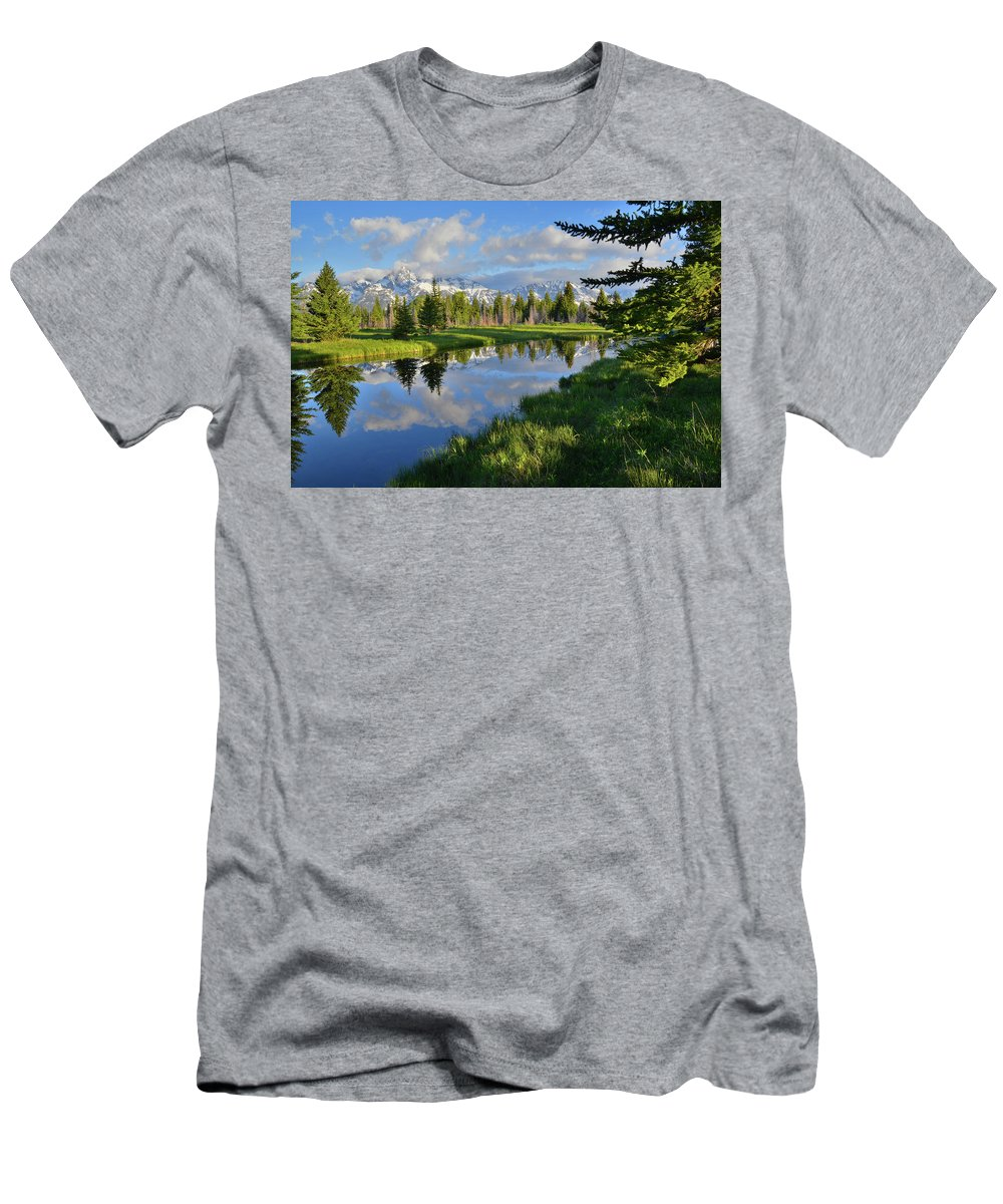 Grand Teton National Park Men's T-Shirt (Athletic Fit) featuring the photograph Schwabacher Landing Morning by Ray Mathis