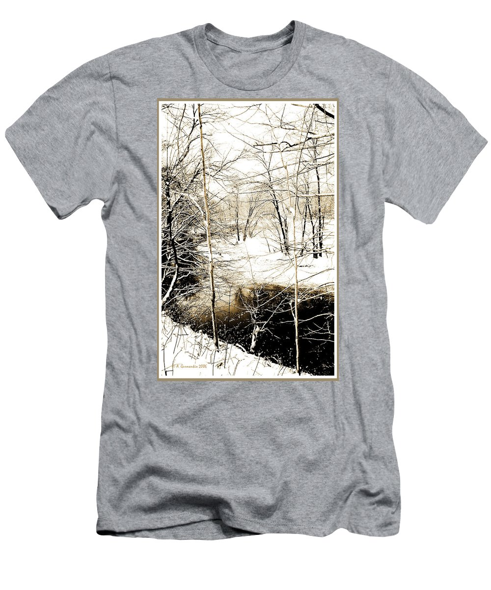 Cold Weather Men's T-Shirt (Athletic Fit) featuring the photograph Snow-covered Stream Banks, Pennsylvania by A Gurmankin