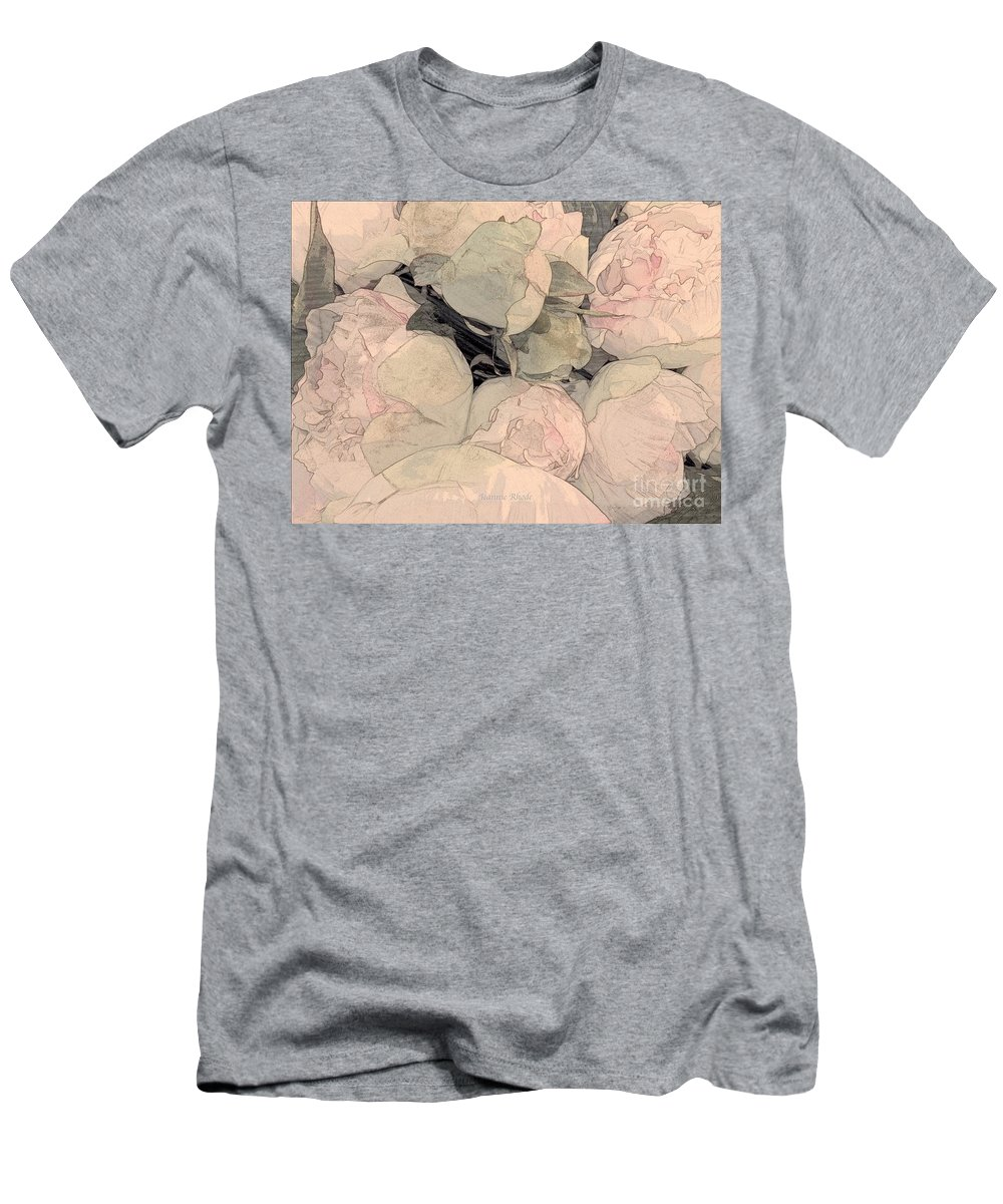 Soft Pink Peonies Men's T-Shirt (Athletic Fit) featuring the photograph Soft Pink Peonies by Jeannie Rhode