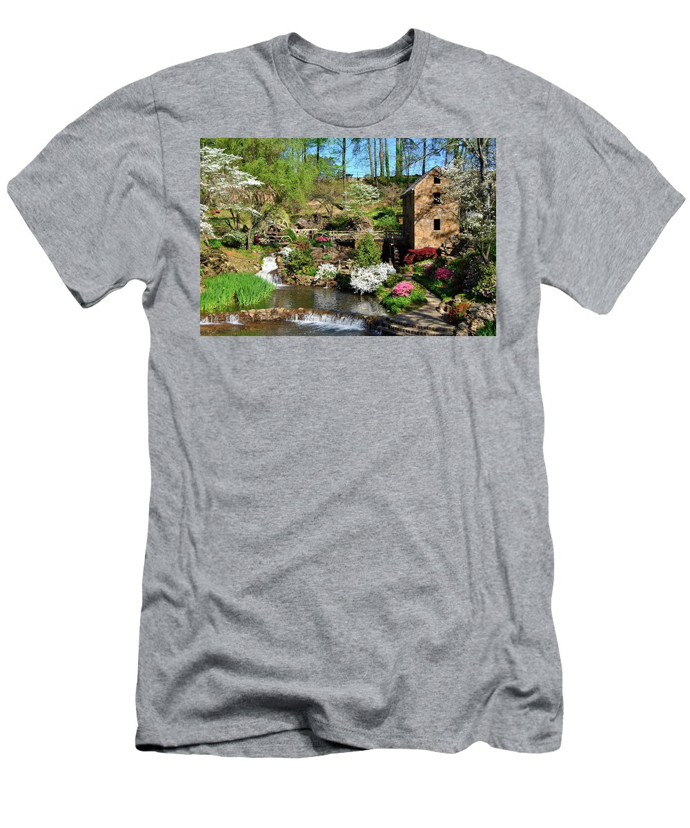 Old Mill Men's T-Shirt (Athletic Fit) featuring the photograph Springtime At The Old Mill by Regina Strehl