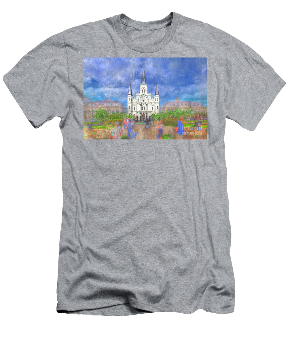 Texture Men's T-Shirt (Athletic Fit) featuring the photograph St Louis Cathedral by Larry Braun