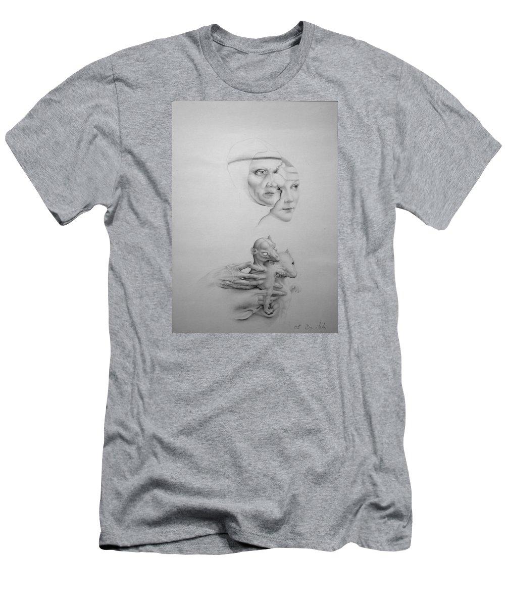 Stillnes Men's T-Shirt (Athletic Fit) featuring the drawing Stillness-leonardo by Mirko Sevic