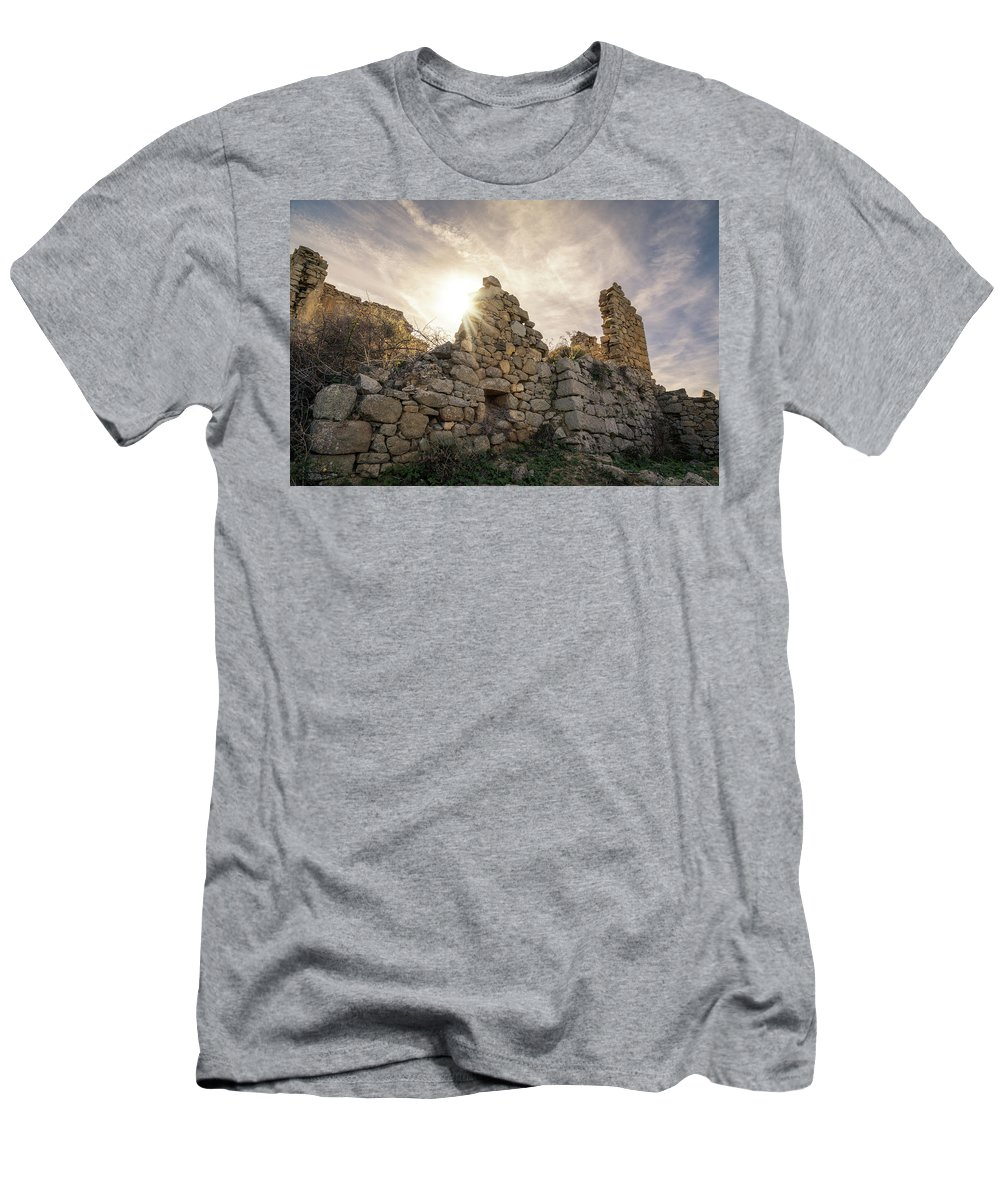 Ancient Men's T-Shirt (Athletic Fit) featuring the photograph Sun Shining Through A Derelict Building At Occi In Corsica by Jon Ingall