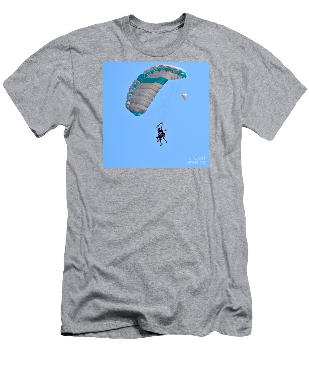 Tandem Men's T-Shirt (Athletic Fit) featuring the photograph Tandem Paragliding by Shay Levy
