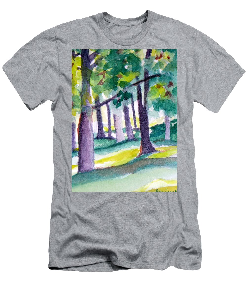 Nature Men's T-Shirt (Athletic Fit) featuring the painting The Perfect Day by Jan Bennicoff