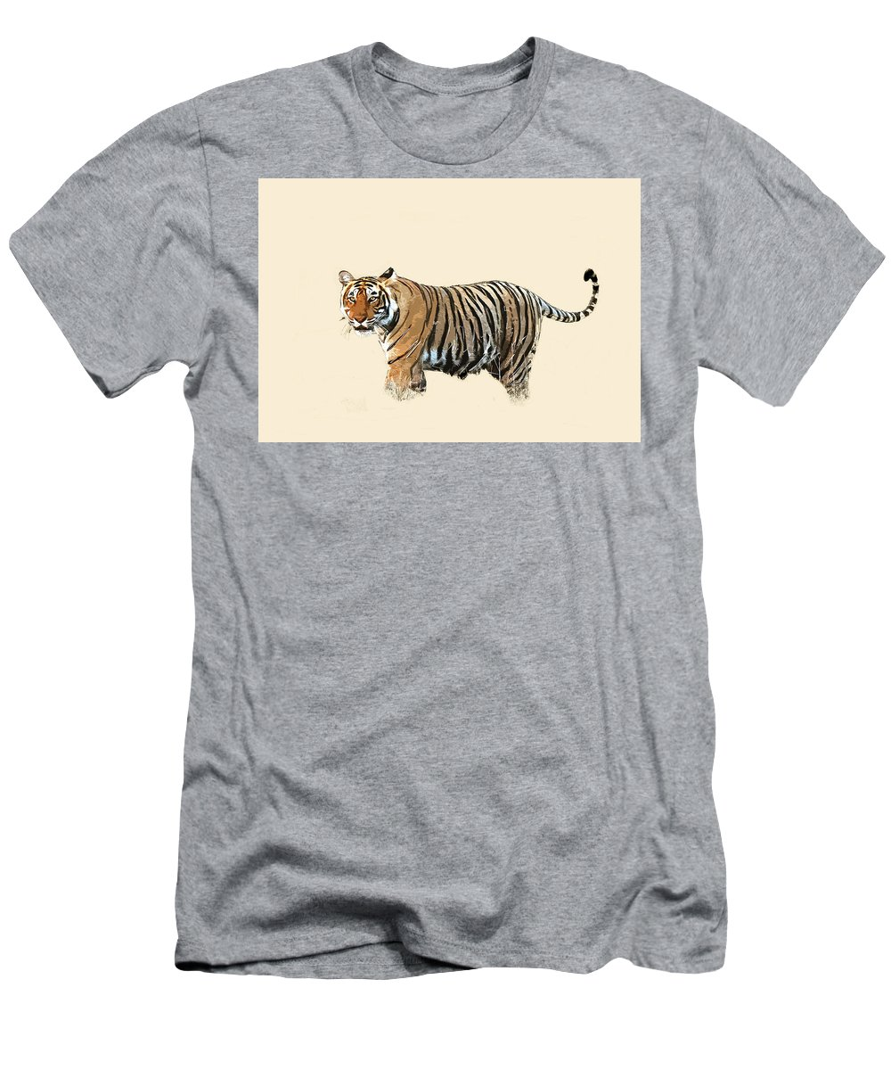 African Men's T-Shirt (Athletic Fit) featuring the photograph Tiger In The Long Grass by Keith Furness