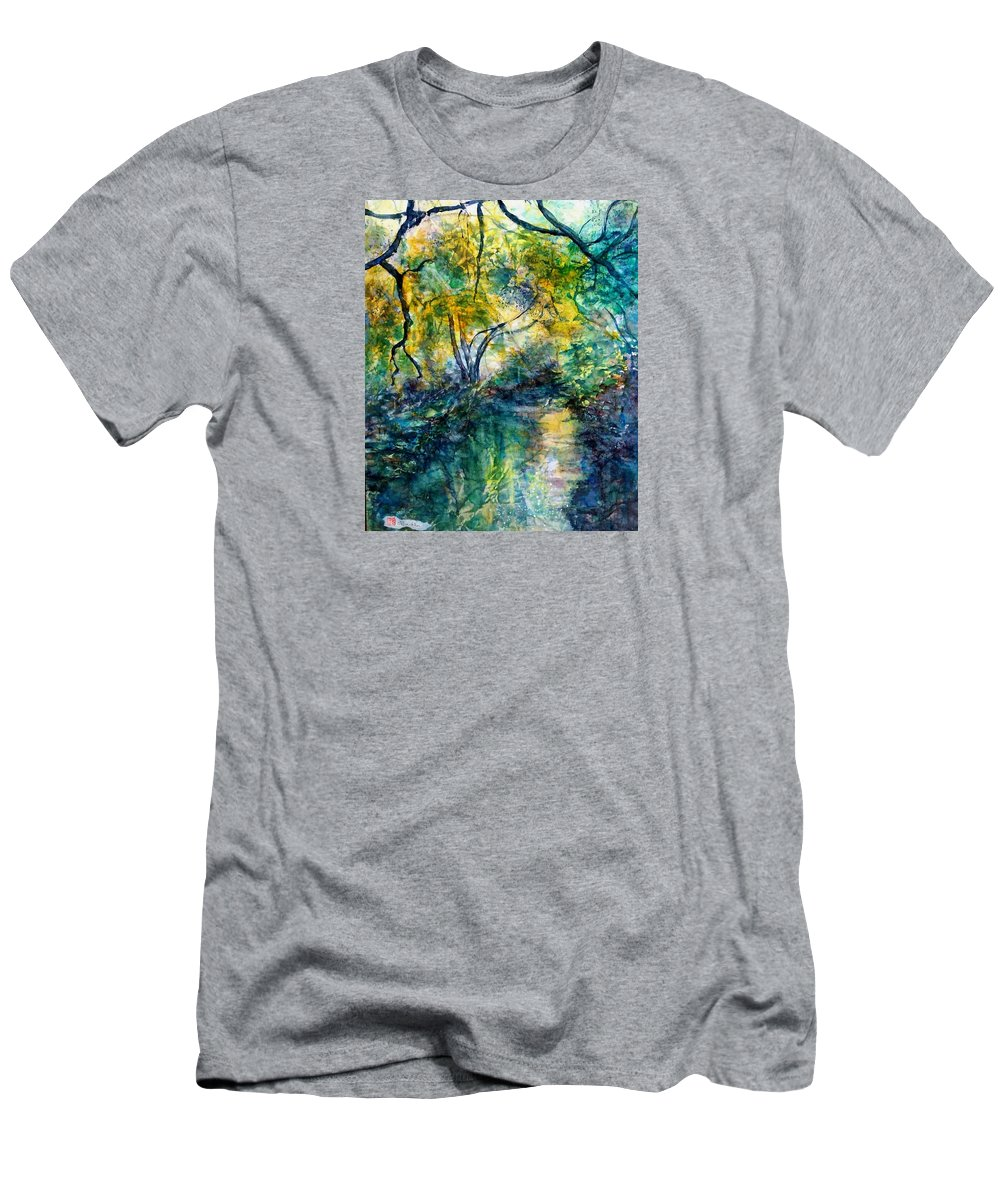 Water Scene Men's T-Shirt (Athletic Fit) featuring the painting Tranquility by Norma Boeckler