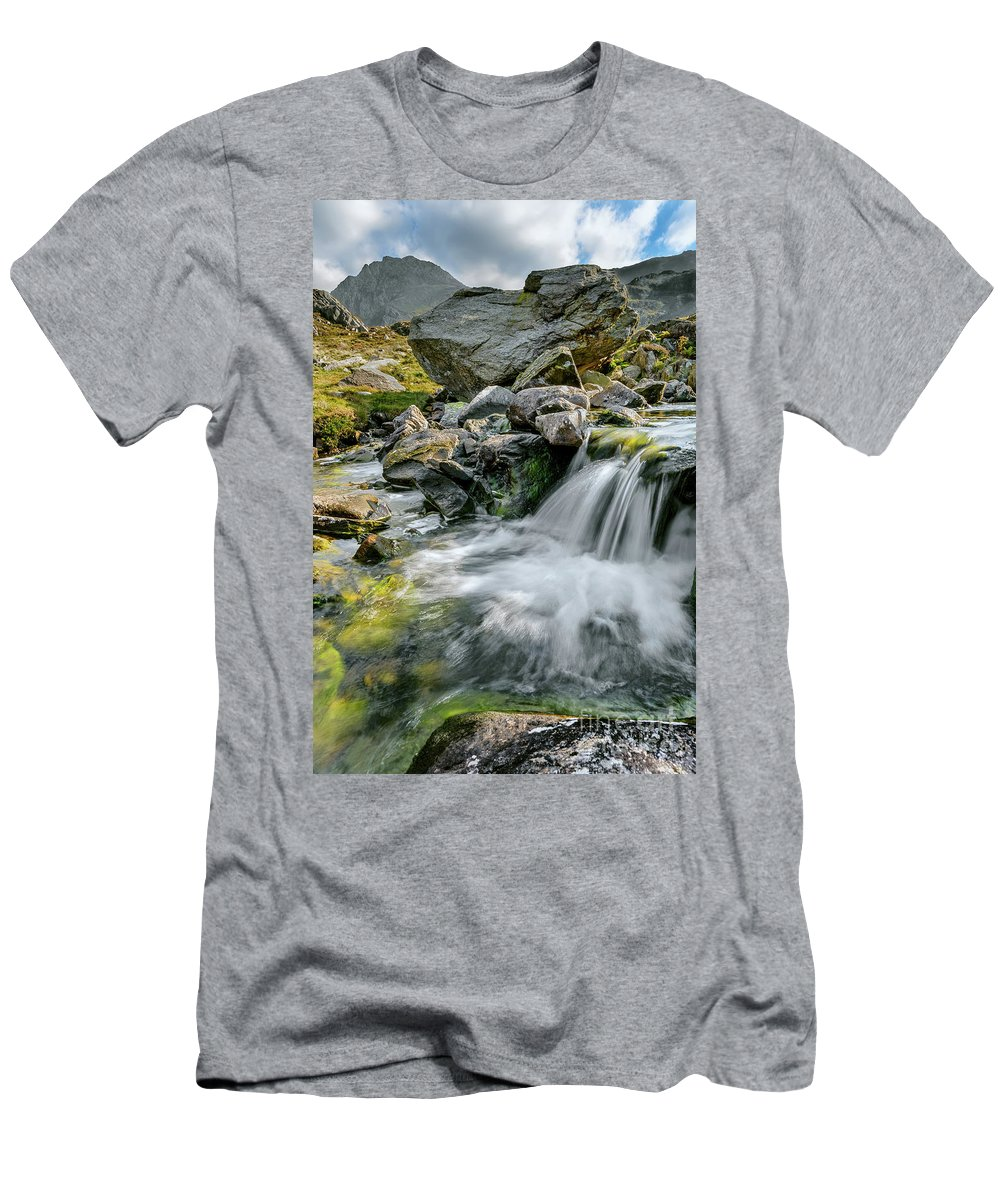 Tryfan Mountain Men's T-Shirt (Athletic Fit) featuring the photograph Tryfan In The Ogwen Valley by Adrian Evans
