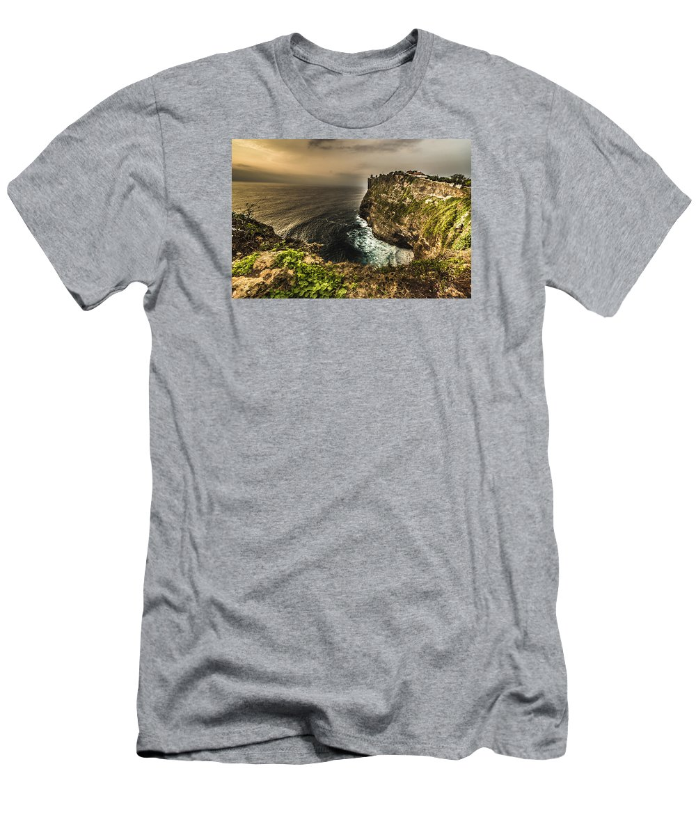 Architecture Men's T-Shirt (Athletic Fit) featuring the photograph Uluwatu Temple by Jijo George