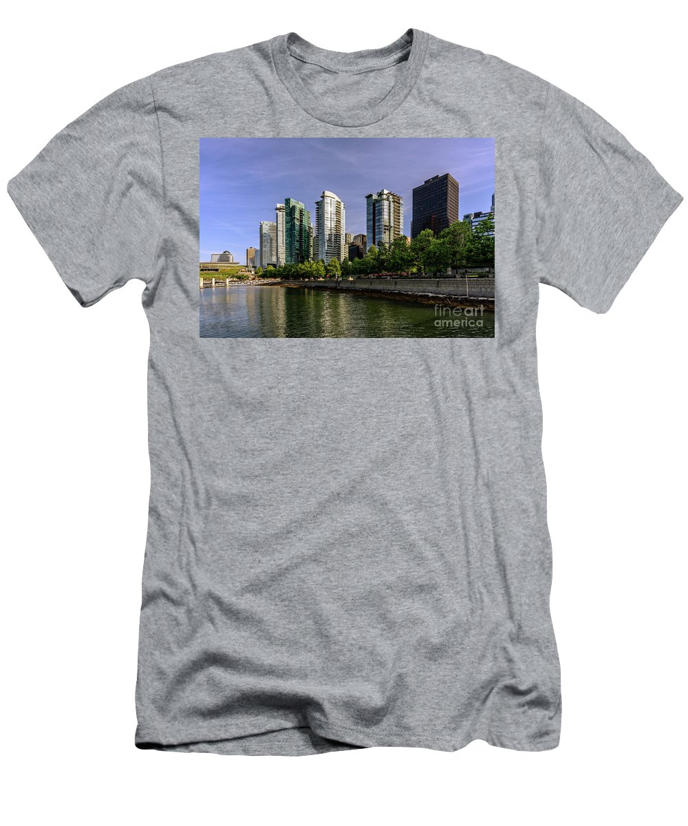 British Columbia;vancouver; Vancouver Bc Men's T-Shirt (Athletic Fit) featuring the photograph Waterfront Of Vancouver, Canada by Viktor Birkus