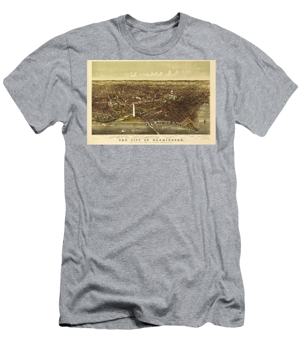Vintage Map - Washington Dc 1892 Men's T-Shirt (Athletic Fit) featuring the painting Vintage Map by MotionAge Designs