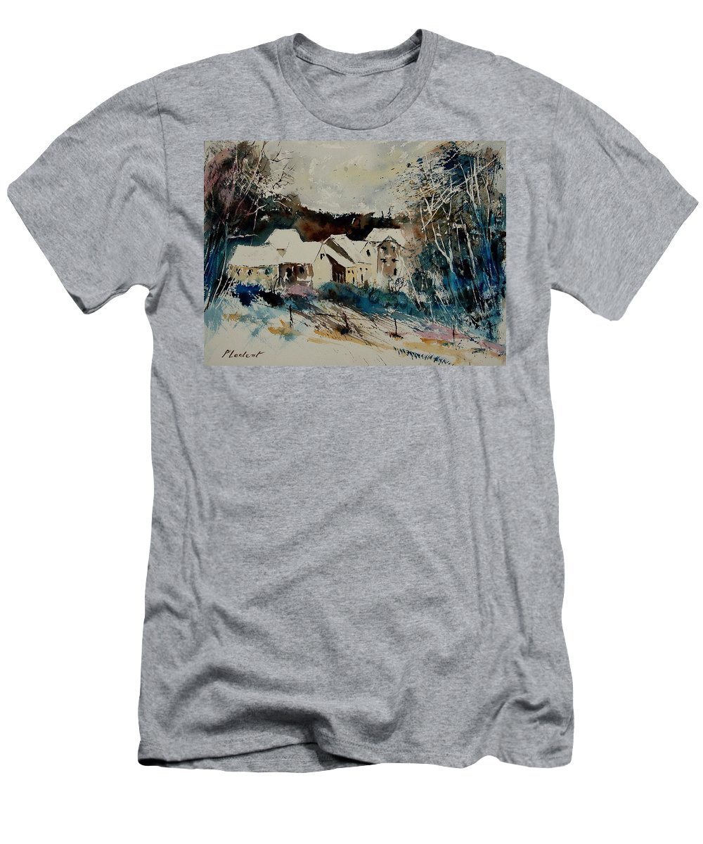 Winter Men's T-Shirt (Athletic Fit) featuring the painting Watercolor 902040 by Pol Ledent
