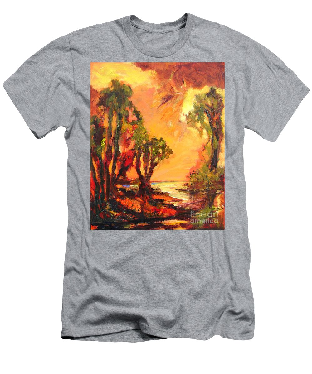 Framed Landscape Prints Men's T-Shirt (Athletic Fit) featuring the painting Waterway by Julianne Felton