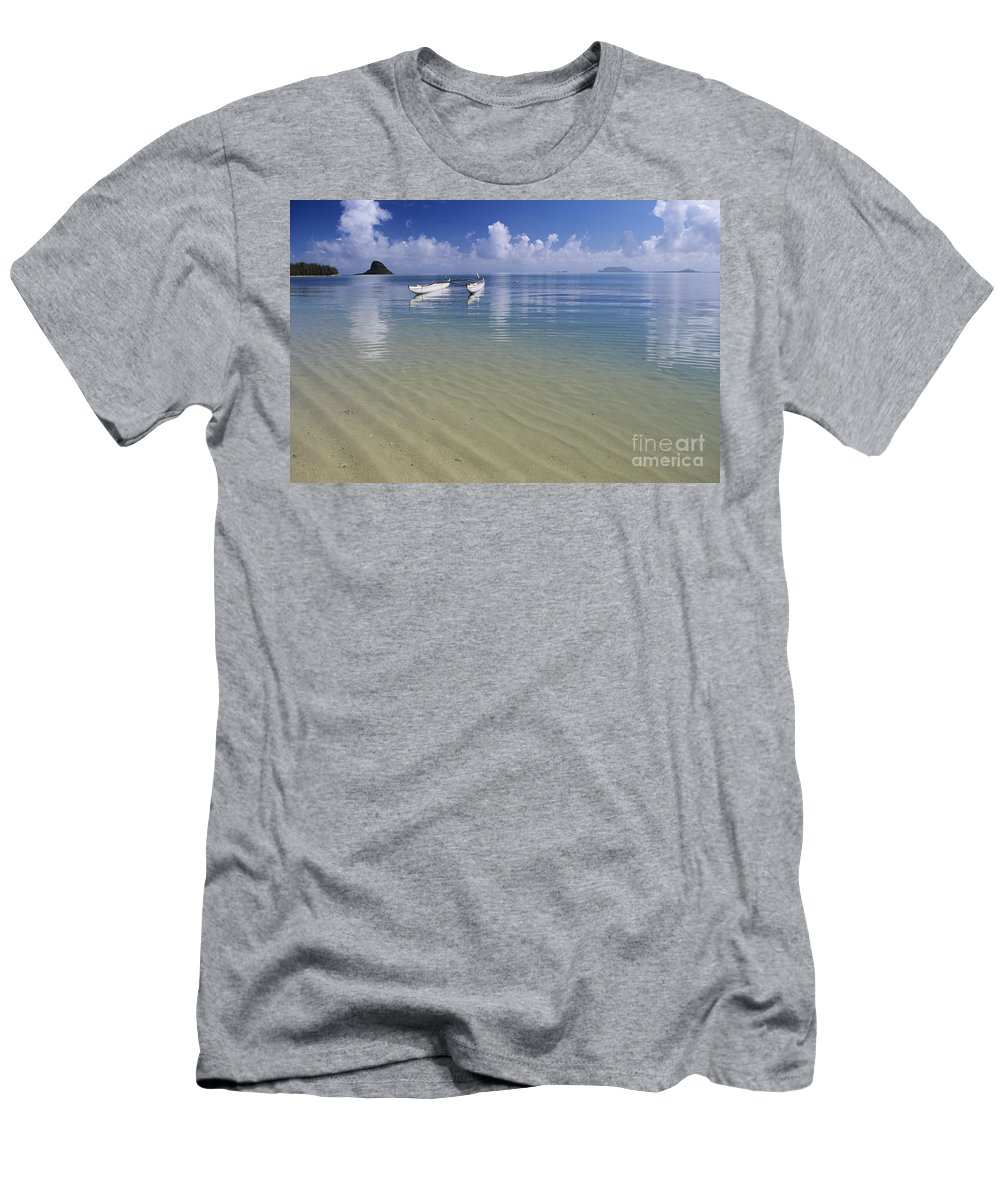 Aku Men's T-Shirt (Athletic Fit) featuring the photograph White Double Hull Canoe by Joss - Printscapes