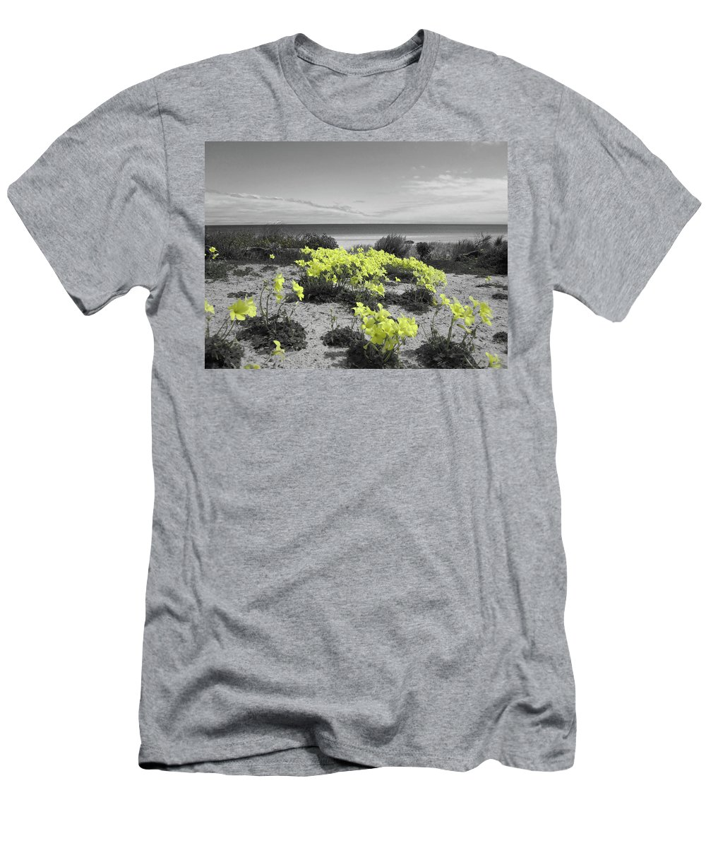 Flowers Men's T-Shirt (Athletic Fit) featuring the photograph Yellow by Douglas Barnard