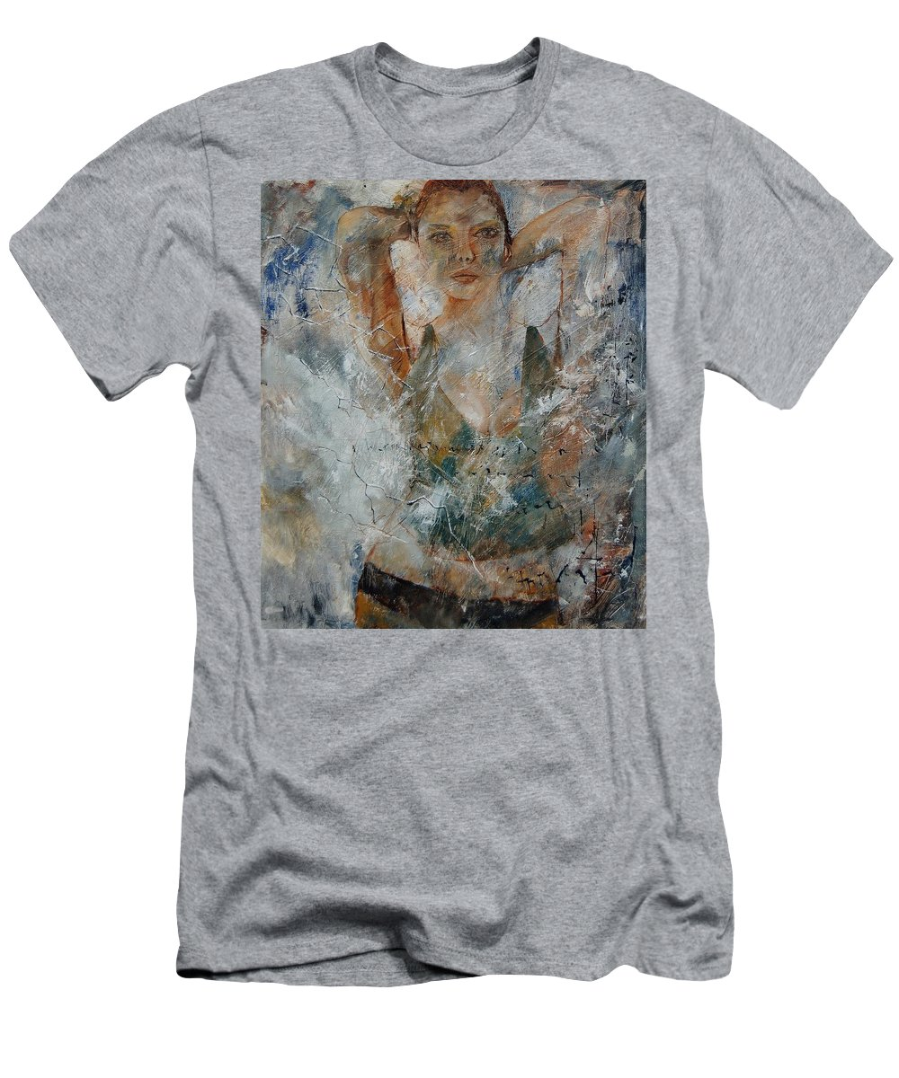 Girl Men's T-Shirt (Athletic Fit) featuring the painting Young Girl 679080 by Pol Ledent