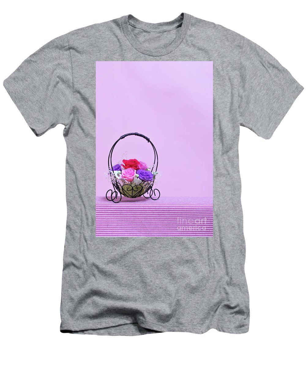 Valentine Men's T-Shirt (Athletic Fit) featuring the photograph A Gift Of Preservrd Flower And Clay Flower Arrangement, Colorful by Eiko Tsuchiya