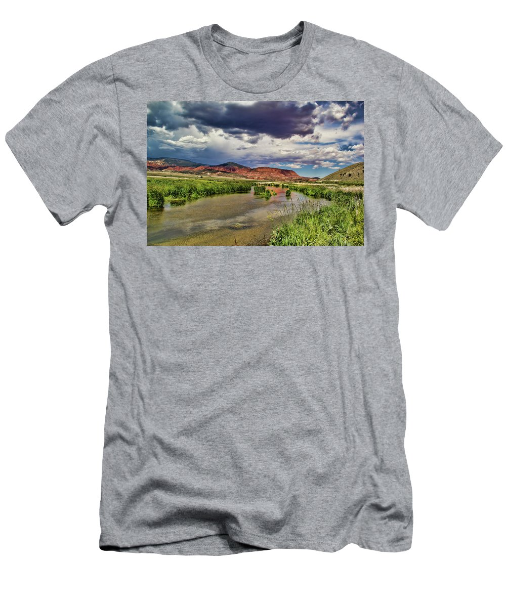 Background Beauty Blue Clouds Colors Landscape Mountain Mountain Men's T-Shirt (Athletic Fit) featuring the photograph Mountain Lake by Mark Smith