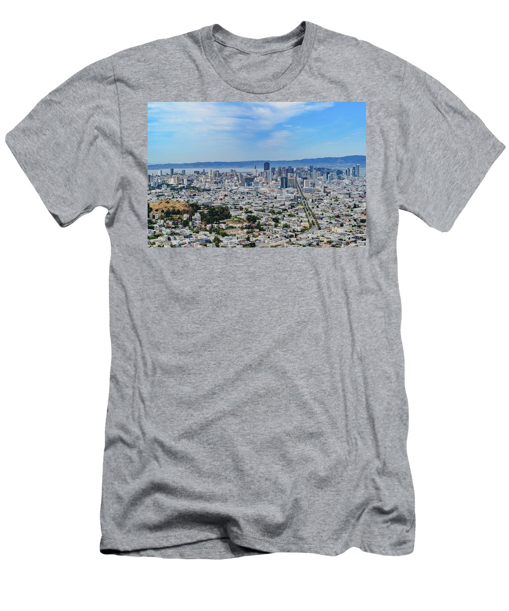 Aerial Men's T-Shirt (Athletic Fit) featuring the photograph San Francisco Skyline by Cityscape Photography