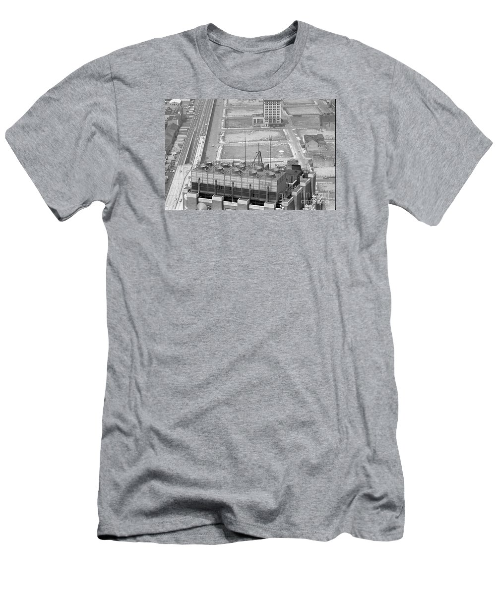 World Trade Center Construction Black And White View From Tower 1967 Men's T-Shirt (Athletic Fit) featuring the photograph World Trade Center Under Construction 1967 by Bob Bennett