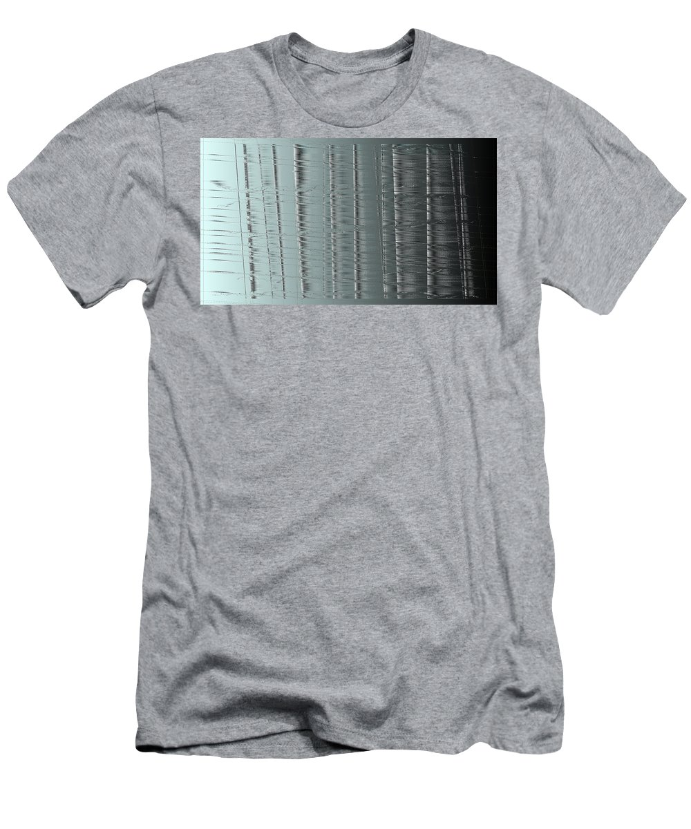 Rithmart Abstract Fade Fading Face Lines Organic Random Computer Digital Shapes Changing Colors Directions Fading Lines Men's T-Shirt (Athletic Fit) featuring the digital art 16x9.262-#rithmart by Gareth Lewis