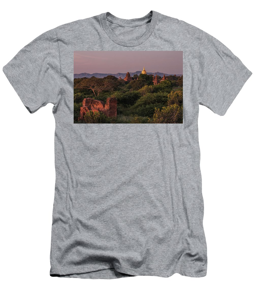 Bagan Men's T-Shirt (Athletic Fit) featuring the photograph Bagan - Myanmar by Joana Kruse
