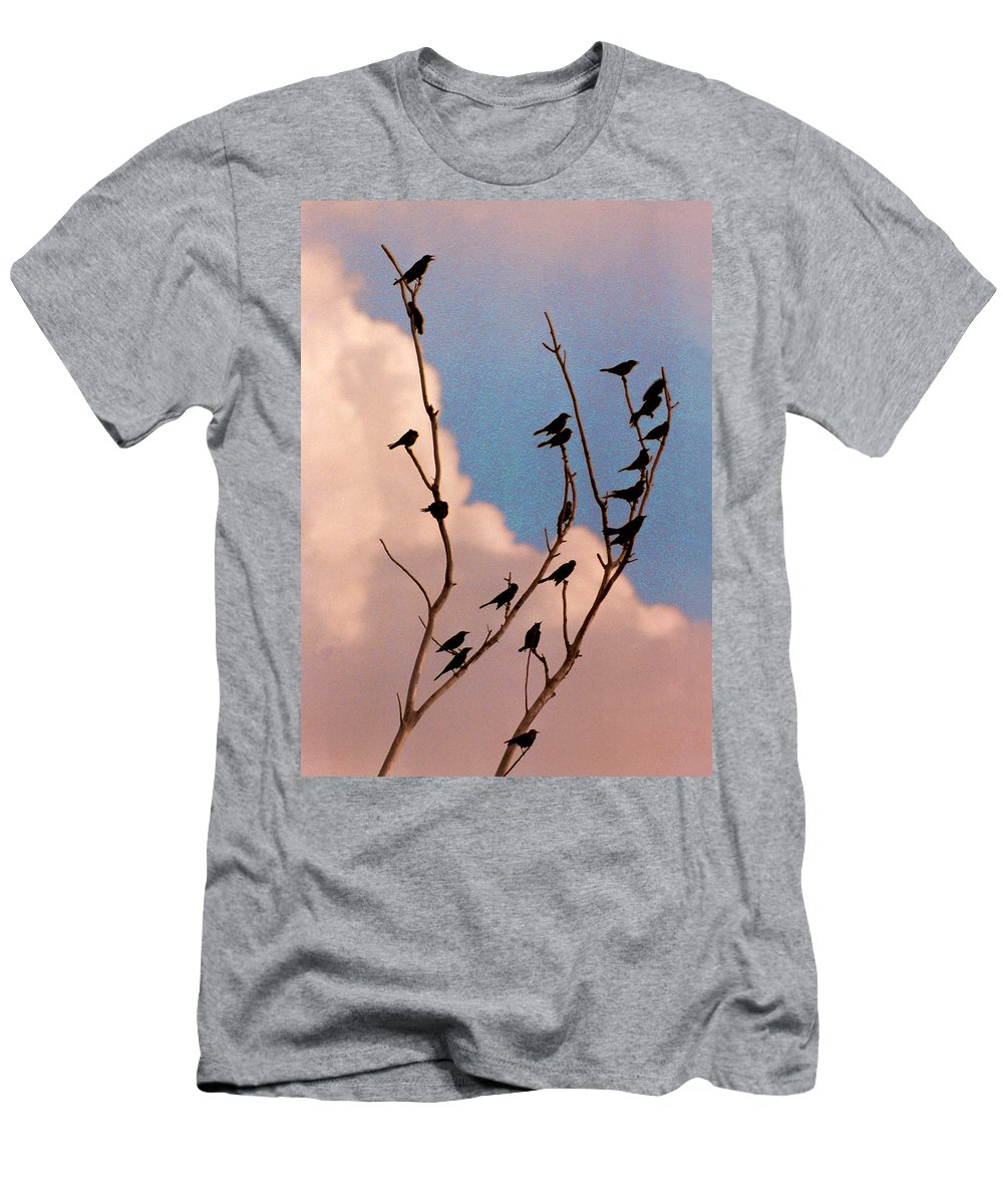 Birds Men's T-Shirt (Athletic Fit) featuring the photograph 19 Blackbirds by Steve Karol